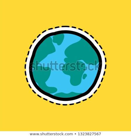 Planet globe flat color sticker with stitch contour Stock photo © barsrsind