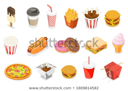 Pizza Chicken isometric icon vector illustration Stock photo © pikepicture