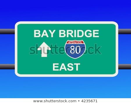 Califórnia sinal da estrada verde EUA nuvem rua Foto stock © kbuntu