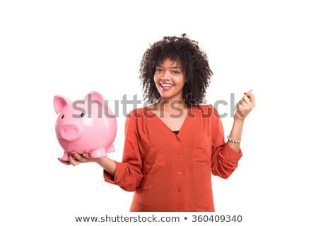 этнических · женщины · монеты · Piggy · Bank · белый · профиль - Сток-фото © feverpitch