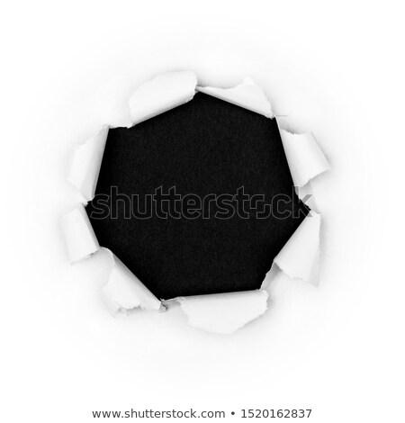дыра лист бумаги черно белые кадр черный Сток-фото © orson