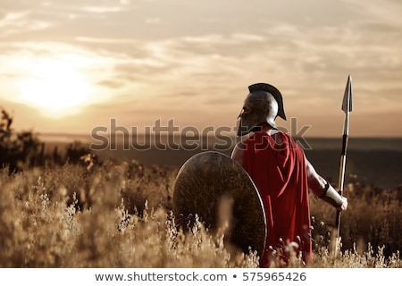 harcos · portré · póló · nélkül · fiatalember · törzsi · dárda - stock fotó © sahua