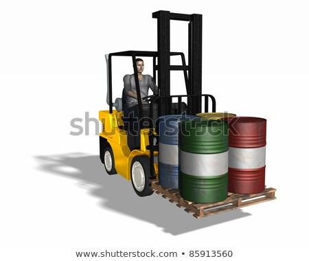 Fork lift loading 4 barrels Stock photo © DuToVision