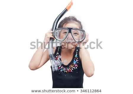 Stock photo: Little girl wearing snorkel and goggles