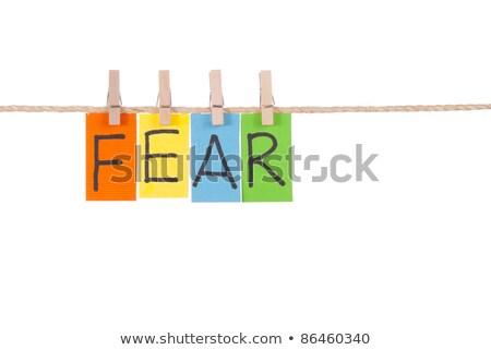 Félelem fából készült szeg színes szavak kötél Stock fotó © Ansonstock