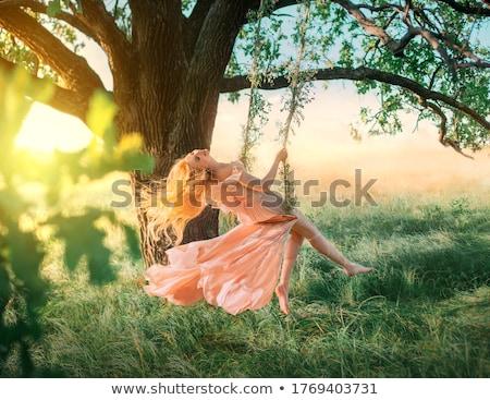 gelin · kadın · oturma · park · yeşil · ot · çim - stok fotoğraf © lunamarina