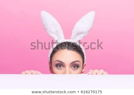 Mulher atraente coelho orelhas branco menina feminino Foto stock © ivelin