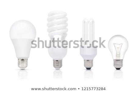 Stockfoto: Energie · besparing · compact · tl · gloeilamp · geïsoleerd