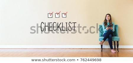 Stockfoto: Vrouw · tekeningen · huis · gebouw · vergadering · bouw