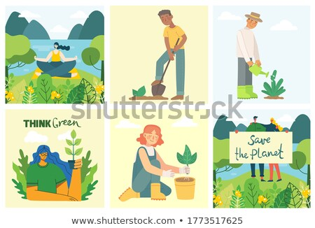 abstract green save water icons Stock photo © pathakdesigner