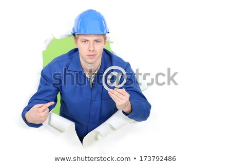 Builder promoting e-mail address Stock photo © photography33