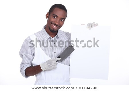 Chef with a cleaver and a white board ready for text Stock photo © photography33