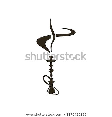 Sziluett vízipipa fekete fehér Stock fotó © mayboro
