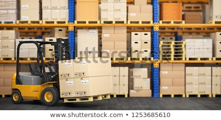 Stock photo: Industrial forklift with a load of the boxes