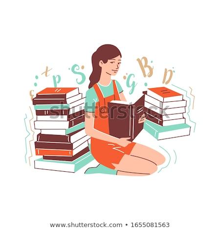 красивая · девушка · рисунок · текста · книга · белый · книгах - Сток-фото © stockyimages