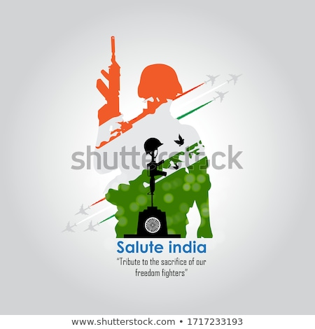 Indian Soldat Illustration Flagge Hügel tricolor Stock foto © vectomart