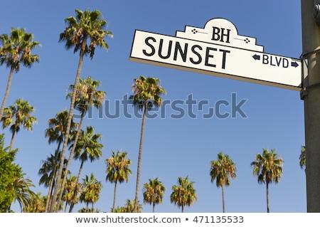 Naplemente Los Angeles város felirat kék jel Stock fotó © cboswell