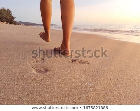 Güney plaj ayak izleri kum Miami Florida Stok fotoğraf © tdoes