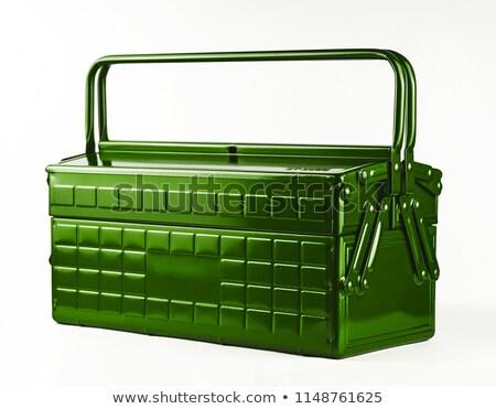 Zöld fehér szerszámosláda izolált építkezés otthon Stock fotó © shutswis