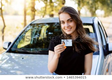 Stockfoto: Meisje · rijden · licentie · hand · succes