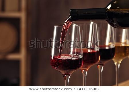 piros · borospohár · üveg · alkohol · selyem · ünneplés - stock fotó © M-studio