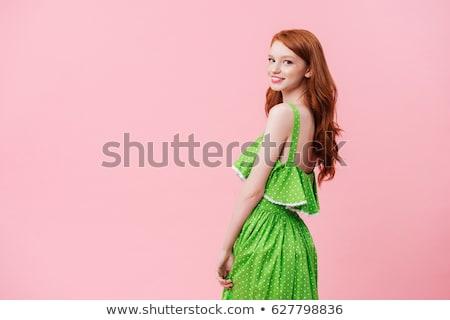 belleza · femenino · moderna · verde · vestido · jóvenes - foto stock © gromovataya