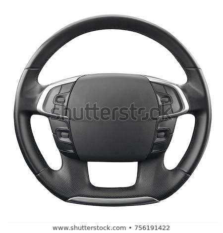 Foto stock: Couro · volante · isolado · preto · retro · branco