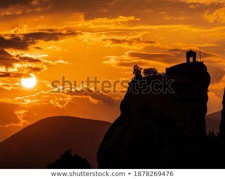 Silhouette of  Meteora's monastery stock photo © michey