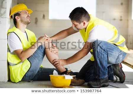 werknemer · ongeval · gezicht · bouw · achtergrond · oranje - stockfoto © photography33