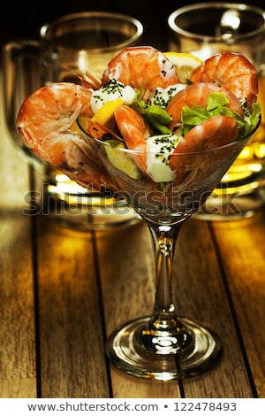 Shrimp coctail and beer. Vertical shot. Stock photo © moses