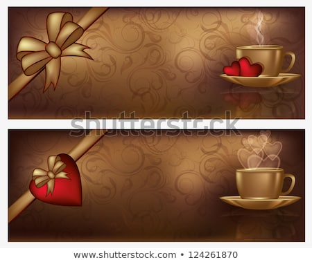 two valentines day banners with coffee vector illustration stock photo © carodi