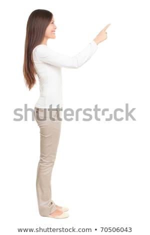egészalakos · oldalnézet · gyönyörű · ázsiai · fiatal · nő · áll - stock fotó © szefei