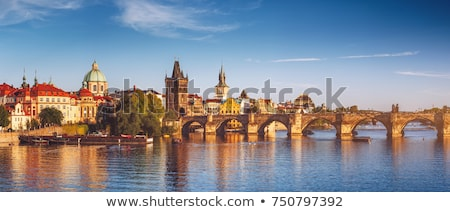 View of Vltava river with Charles bridge in Prague, Czech republ Stock photo © lightpoet