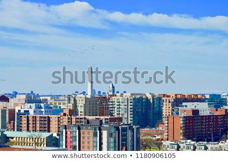 Washington Monument Blauw silhouet geschiedenis buitenshuis Washington DC Stockfoto © HdcPhoto