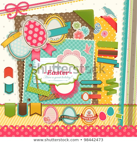 Greeting Easter photo frame in style scrapbooking, vector illustration Stock photo © carodi