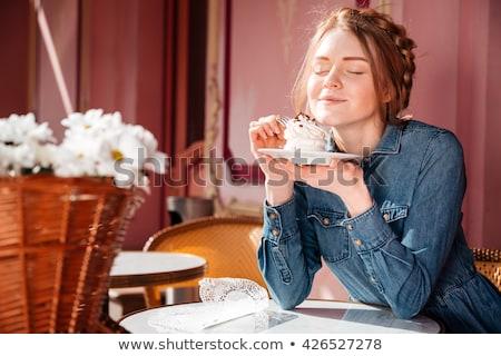 Gyönyörű szőke nő élvezi finom desszert szőke nő Stock fotó © stryjek