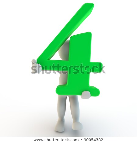 3D Human charcter holding number four stock photo © Giashpee