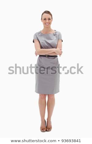 nő · áll · karok · összehajtva · fehér · boldog - stock fotó © wavebreak_media