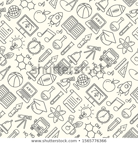 Seamless background with objects of chemistry stock photo © Silvek