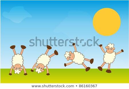 стойка на руках овец пейзаж вектора цветок трава Сток-фото © yupiramos