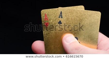 trois · puces · vert · table · poker - photo stock © grazvydas