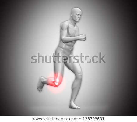 Grey human body running with ankle highlighted in red Stock photo © wavebreak_media