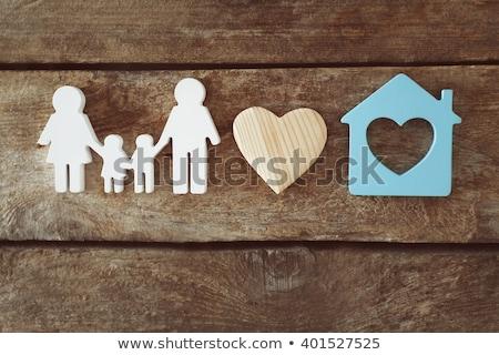 Család szeretet rajz ház színes szív alak Stock fotó © Ansonstock