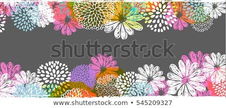 Absztrakt virágmintás hely szöveg pillangók körül Stock fotó © kittasgraphics