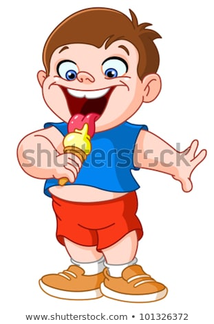 fat boy eating ice stock photo © carbouval