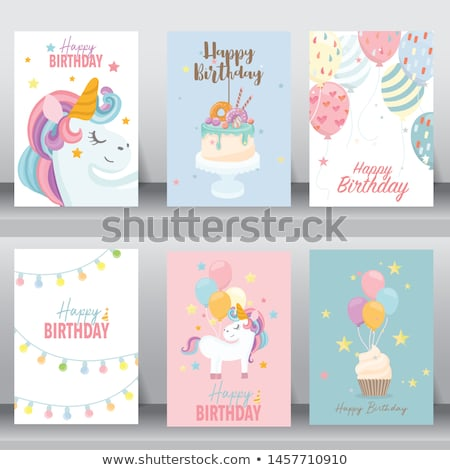 baby boy birthday card with elephant Stock photo © balasoiu