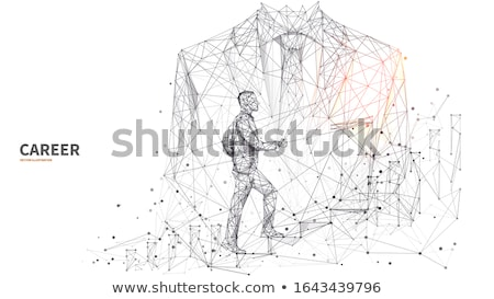 man on staircase isolated 3d image stock photo © iserg