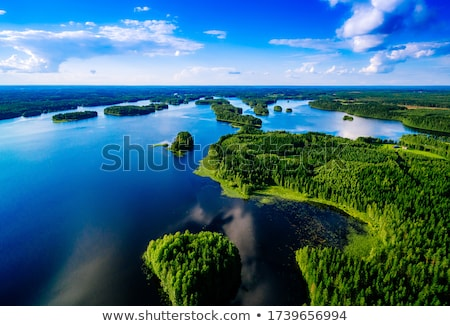path over green landscape and lake stock photo © zzve