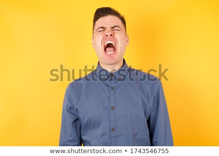 Furioso homem cômico nuvem raiva Foto stock © carbouval