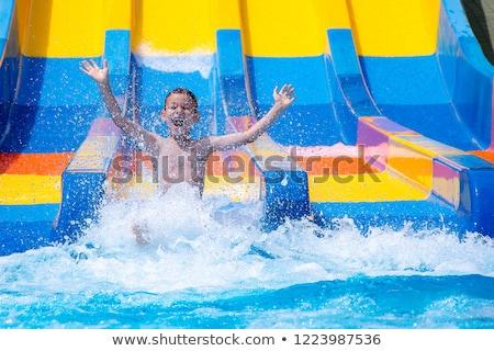 少年 ウォータースライド ダウン 水 速度 ストックフォト © cosma
